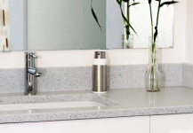 Bathroom with flowers on an Environite Countertop