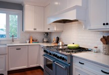 Subway Tile and White Environite Countertops