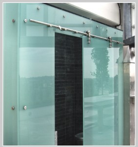 Colored glass to match any palette... brushed stainless steel hardware...